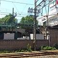JR京浜東北線駅から見た鶴見線の高架と駅舎先端と電車の先端