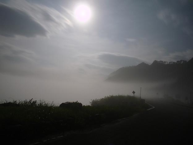 月明かりに揺れる、湖上の濃霧
