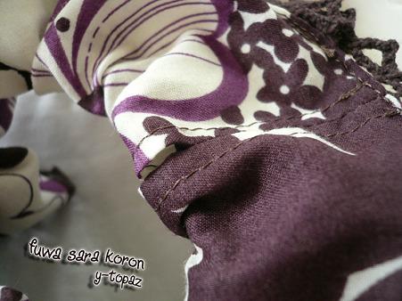 レースの縁飾りシュシュ 紫にお花 5