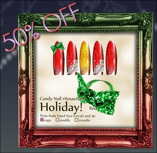 Candy Nail #Xmas2010 Holiday! Red